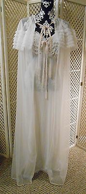 Vintage YOLANDE Long White Night Gown and Robe Peignoir Set Size 38