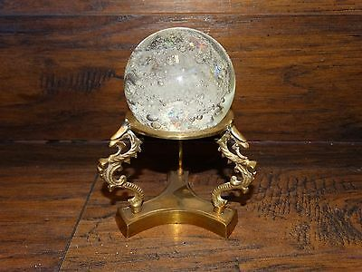 15875 Vintage BRASS DRAGON STAND with GLASS CRYSTAL BALL