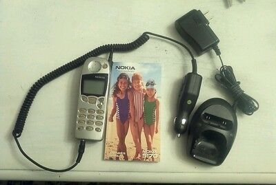 Vintage Nokia Cell Phone  with Book and Two Chargers