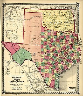 12x18 inch Reprint of American Cities Towns States Map Texas