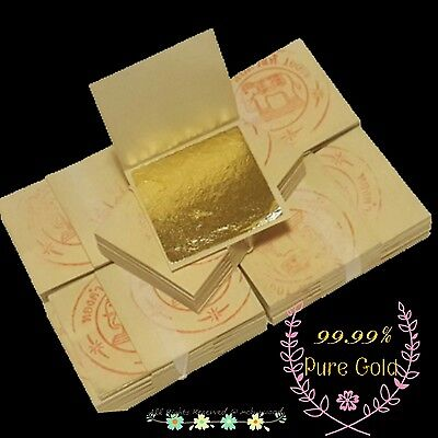99.99% Pure Gold Leaf Sheets Food Decorating,spa,art,craft,gliding 3.5X3.5 Cm**