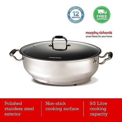 Stainless Steel Electric Fry Pan Cooking Pot Fryer Roaster Glass Lid Frypan