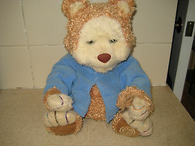 T J BEARY BEAR INTERACTIVE & 2 cassettes-PLAYS CASSETTE'S/SOUND /MOVEMENT USED