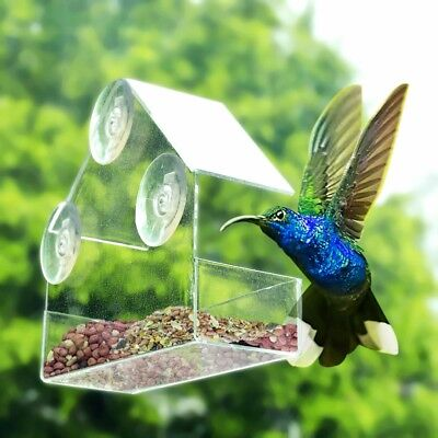 New Acrylic Bird Feeder Tray Birdhouse Window Suction Cup Hanging Clear Viewing