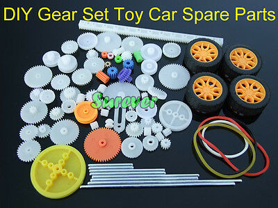 DIY Gear Set Toy Car Model Parts Gears/Axles/Belts/Worm/ Tire/Rack/Crown Wheel