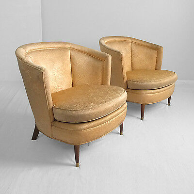 2 mid century MODERN mod art deco barrel back club chairs hollywood regency vtg