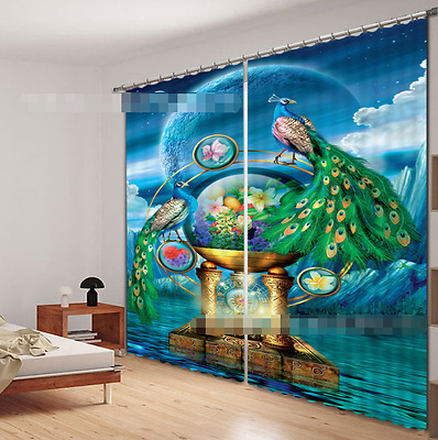 3d Peacock 3 Blockout Photo Curtain Printing Curtains Drapes Fabric