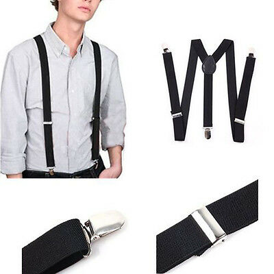 Mens Womens Clip-on Suspenders Elastic Y-Shape Adjustable Braces Solids - BLACK