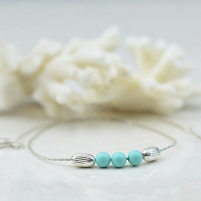 ITALIAN MADE STERLING SILVER ANKLET WITH GLASS BEADS, Bohemian Anklet, Boho
