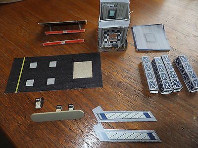 HO scale CARD BUILDING, fuel pumps people decal lot, figures Tyco HO AFX aurora