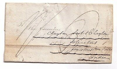 1823 Pre-stamp letter London to Chorleywood, Hertfordshire redirected to London