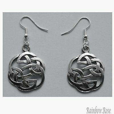 Earrings #383 Pewter CELTIC CIRCLE KNOTS (25mm) silver tone