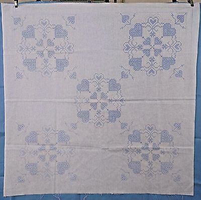"""Cross Stitch Hearts Stamped Embroidery Cotton Quilt Panel 36"""" Square"""