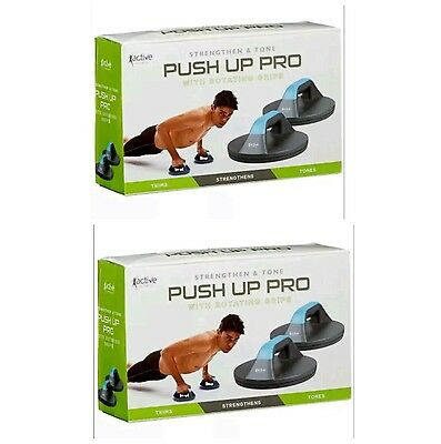2 x Push Up Gym Workout Chest Arms Press Rotating Grips Excercise Upper Body