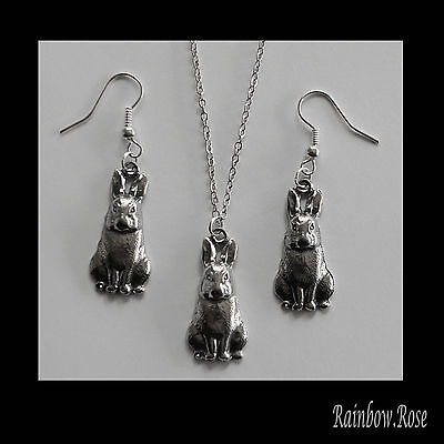 Earrings & NECKLACE #2017 Pewter BUNNY RABBIT (27mm x 13mm) Silver Tone SET
