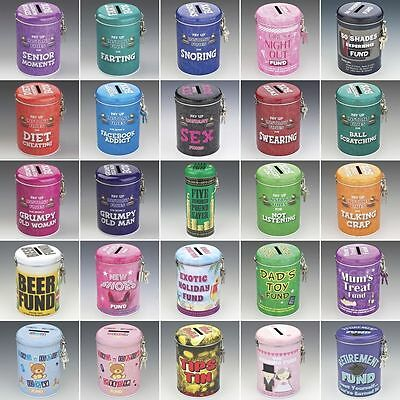 Novelty Gifts Fine and Fund Money Saving Tins Great Fun Gifts for Him or Her