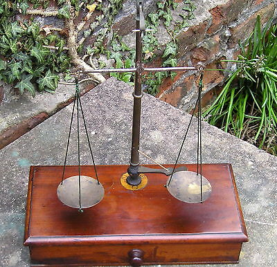 Authentic Antique Apothecary Beam Balance Scales mahogany brass chemist scales