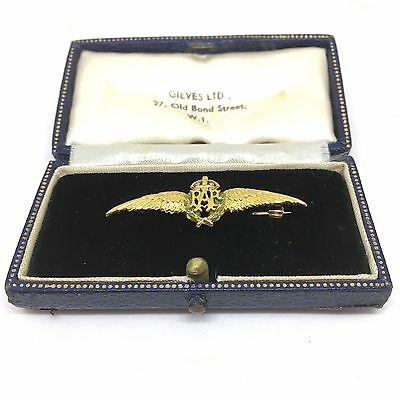 "Unique Vintage RAF ""Sweetheart Brooch"" Badge,Original Box 9ct 1952 Hallmarked"