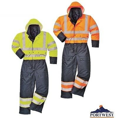 Hi Vis Rain Coverall Lined Work Class 3 Waterproof Reflective, Portwest US485