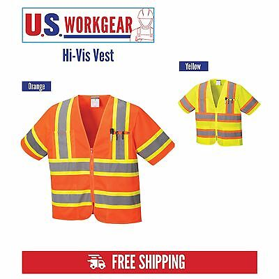 Hi Vis Safety Vest Reflective Sleeved Work ANSI Class 3, Pockets, Portwest US383
