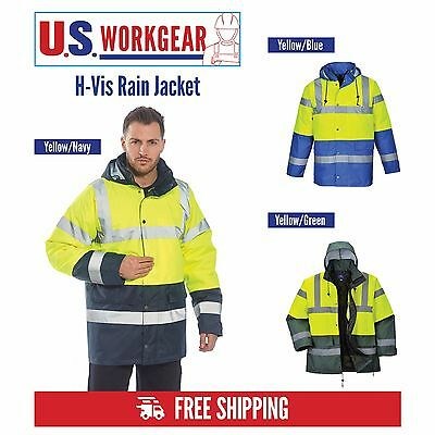Hi Vis Rain Traffic Jacket, High Visibility Work Safety ANSI 3:2, Portwest US466