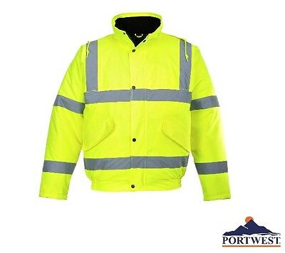 Portwest High Visibility Bomber Jacket Hood Waterproof Jacket ANSI Class 3 US463