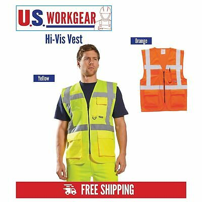 Portwest Hi-Vis Executive Safety Work Zip Vest, ANSI ISEA Class 2, US476