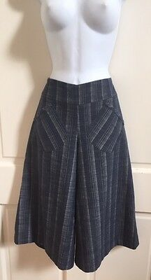 Harvey's Vintage Linen/Cotton High Waisted Blue Pinstriped Culottes Size 6 NWOT!