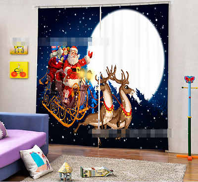 3D Deer moon 24 Blockout Photo Curtain Printing Curtains Drapes Fabric Window US