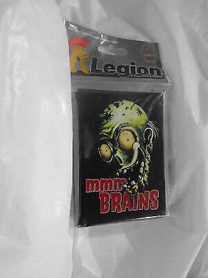 Legion Mmm Brains zombie deck sleeves for standard size cards. Green. 50 pack.