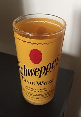 Vintage Yellow Schweppes Tonic Water Glass, 12 Fluid Ounces, Montreal Canada