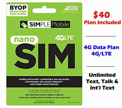 Simple Mobile Nano SIM Kit 4G LTE Preloaded First Month $40 Plan Free Prefunded