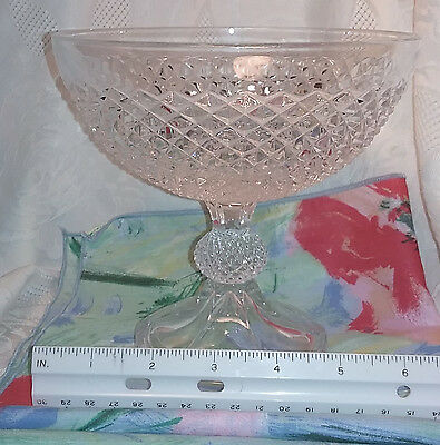Cut Gl Pedestal Bowl Clear Great Condition Centerpiece Candy Nut Dish