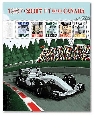 ca. FORMULA-1 F1, BEST RACING CAR PILOTS Minisheet of 5 stamps MNH Canada 2017