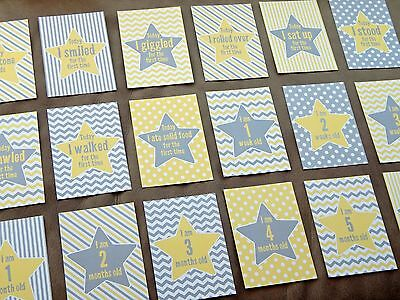 Baby Milestone Cards Set Yellow & Grey New Baby Shower Gift *SPECIAL SALE PRICE*