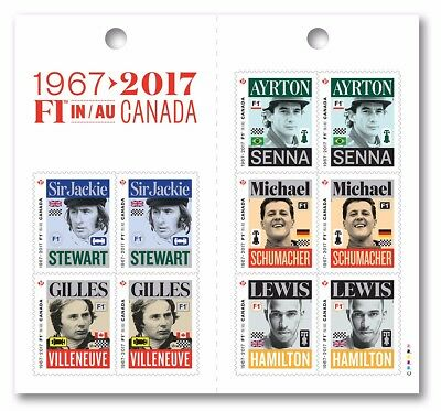 ca. FORMULA-1 F1, BEST RACING CAR PILOTS Booklet of 10 stamps MNH Canada 2017