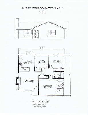 1088 square foot three bedroom house plan