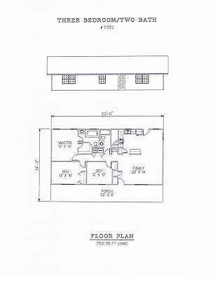 1352 square foot three bedroom house plan