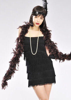 1920s Flapper Girl Chocolate Brown Feather Boa