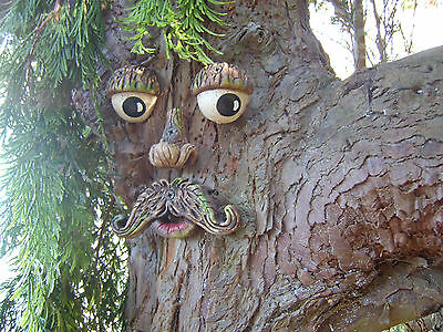 Moustached TREE FACE. Garden ornament, sculpture, statue, tree decoration, gifts