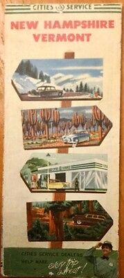 Vintage 1950s CITGO Highway Map Of New Hampshire & Vermont