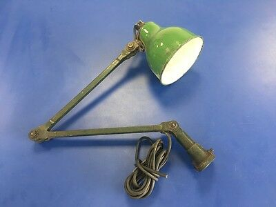 Industrial Machinist's Lamp/Light With Green Enamel Shade
