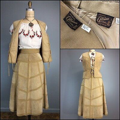 VINTAGE 1970s Leather & Knit High Waist Midi Skirt Set Vest Waist Coat Hippie M