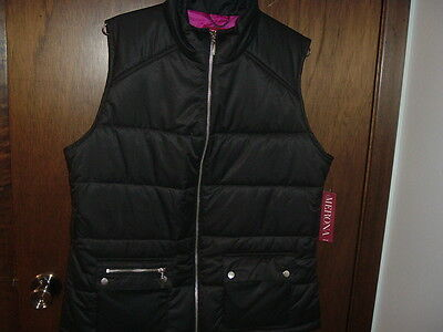 Nwt Women's Merona Me Puffer Black Xl Vest With Front Pockets