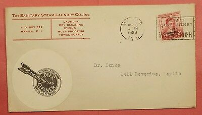 Philippines Cover 1939 Sanitary Steam Laundry Co Advertising Manila Cancel