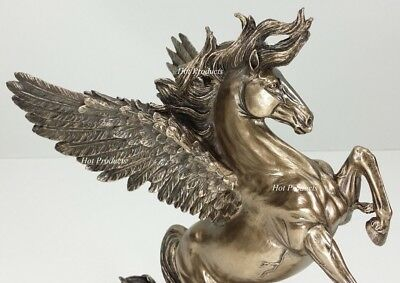 *** NEW *** PEGASUS HORSE REARING GREEK MYTHOLOGY Statue Sculpture Bronze Finish