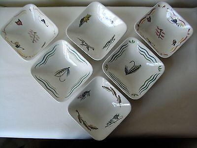 6  Vintage Hand Painted Ceramic Bowls, Hunting & Fishing Theme
