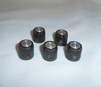 "5 Textured Knobs 5/8"" H x 3/4"" 1/4"" Shaft Set Screws, Aluminum Cap, Steel Insert"