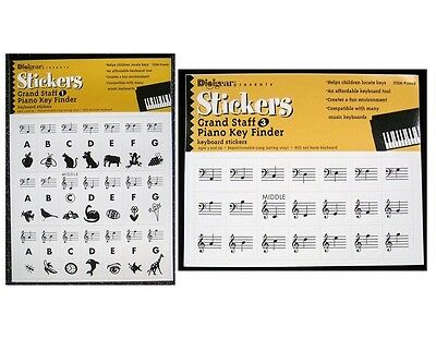 6 sheets Piano Keyboard Stickers GS1+3 Grand Staff Key Decal Label Music Note