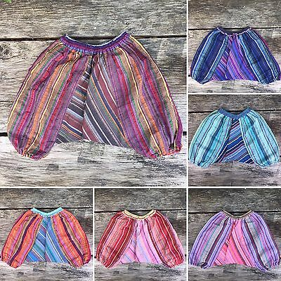 Girls boys baby stripey harem pants baggy summer hippy boho trousers 3 -8 months